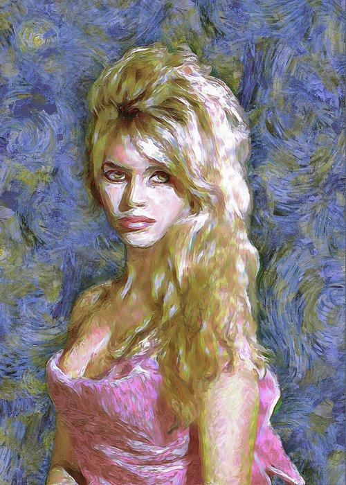 Brigitte Bardot Greeting Card featuring the painting Brigitte Bardot Van Gogh Style by Dominique Amendola