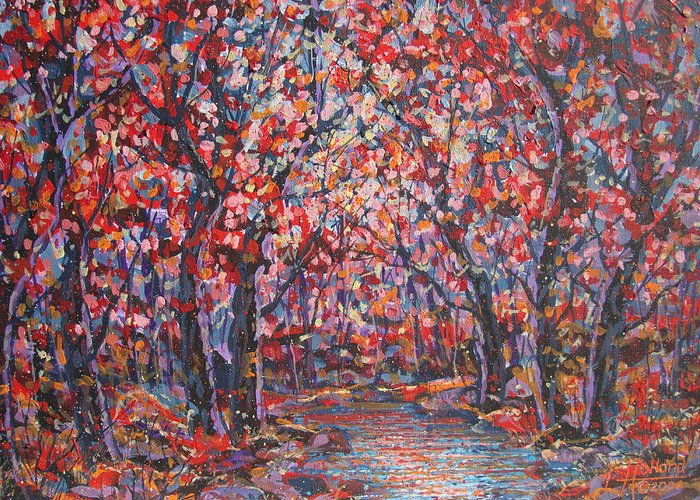 Forest Greeting Card featuring the painting Brilliant Autumn. by Leonard Holland