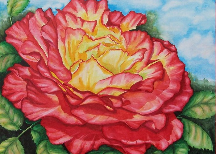 Rose Greeting Card featuring the painting Brilliant Bloom by Conni Reinecke