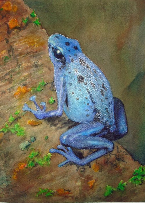 Animal Greeting Card featuring the painting Brilliant Blue Poison Dart Frog by Kerra Lindsey