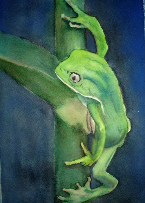 Frog Greeting Card featuring the painting Brilliant Green Poison Dart Frog by Kerra Lindsey