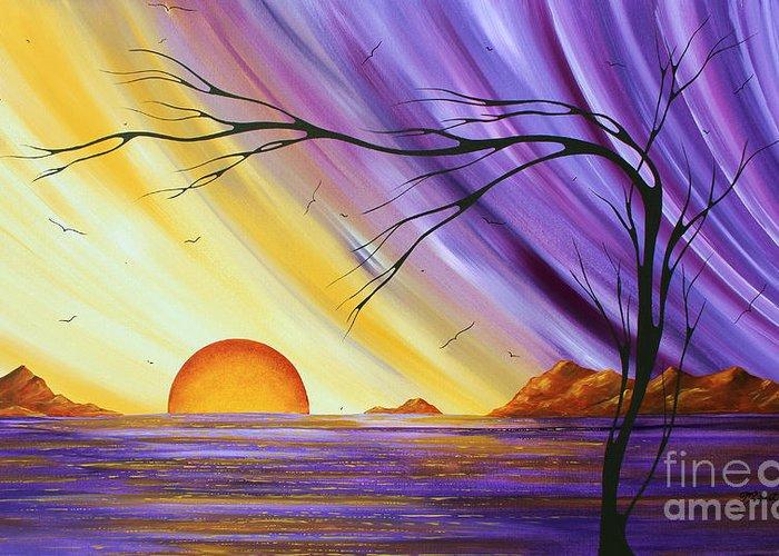 Abstract Greeting Card featuring the painting Brilliant Purple Golden Yellow Huge Abstract Surreal Tree Ocean Painting Royal Sunset By Madart by Megan Duncanson