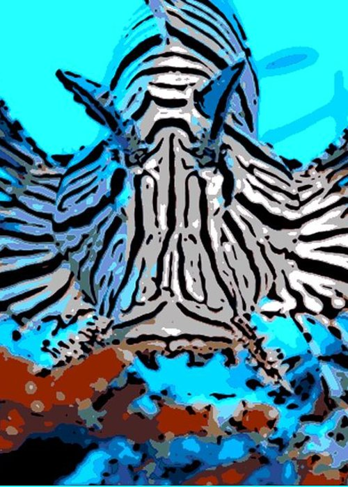 Lion Fish Greeting Card featuring the photograph Brilliant Stripes by George Pedro