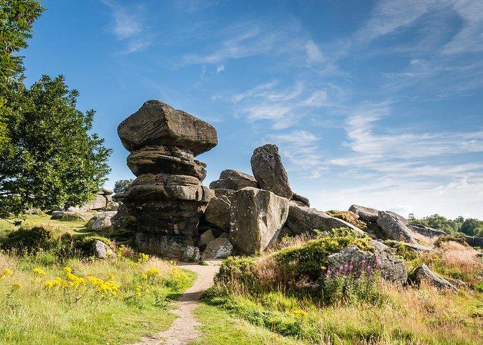 Aonb Greeting Card featuring the photograph Brimham Rocks by David Head