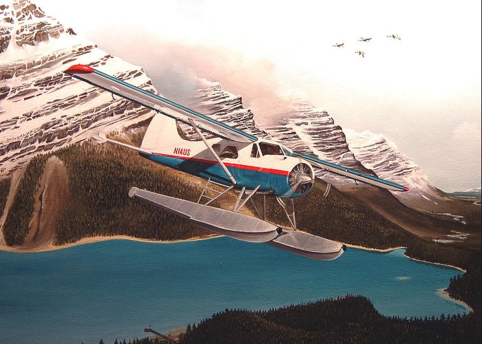 Aviation Greeting Card featuring the painting Bringing Home The Groceries by Marc Stewart