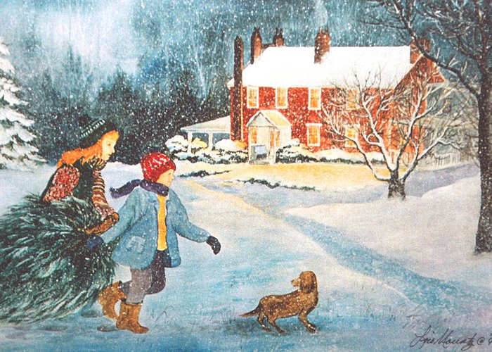 Winter;snow;christmas Tree;children;dog;brick House;farm House; Greeting Card featuring the painting Bringing In The Tree by Lois Mountz