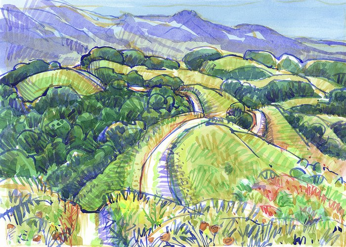 Landscape Greeting Card featuring the painting Briones Crest In May, Lafayette, Ca by Judith Kunzle
