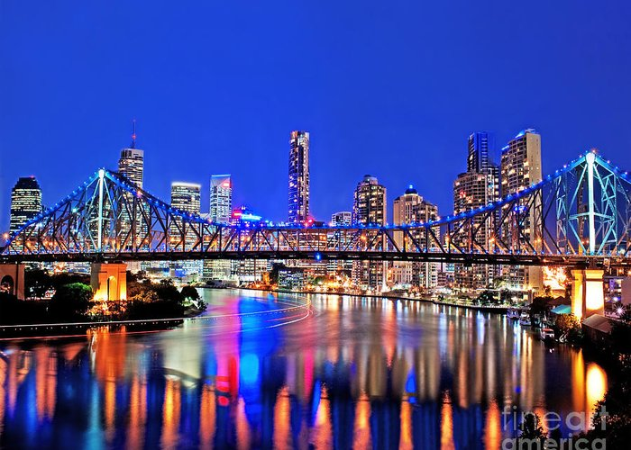 Brisbane Greeting Card featuring the photograph Brisbane In Late Evening by Chris Smith