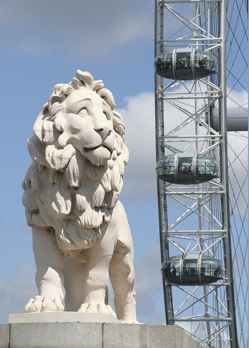 Lion Greeting Card featuring the photograph Britannia Lion by Margie Wildblood
