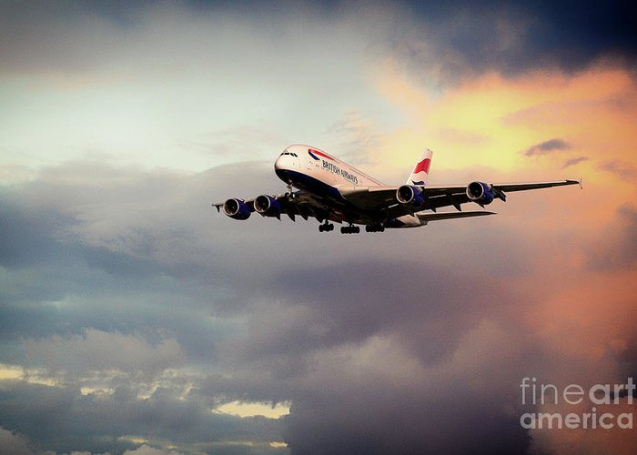 Airbus Greeting Card featuring the digital art British Airways A380 by J Biggadike