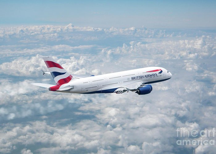 British Airways Greeting Card featuring the digital art British Airways Airbus A380-841 by J Biggadike