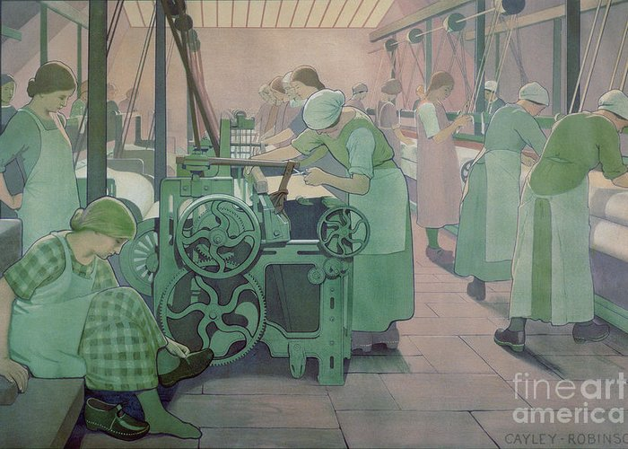 Factory; Twenties; Women; Machinery; Looms; Protective Clothing Greeting Card featuring the painting British Industries - Cotton by Frederick Cayley Robinson