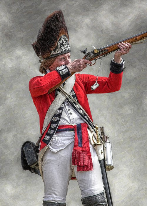 British Redcoat Firing Musket Portrait Greeting Card for Sale by ...