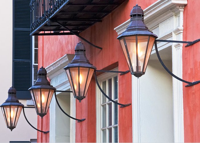 Aged Greeting Card featuring the photograph Broad Street Lantern - Charleston Sc by Drew Castelhano
