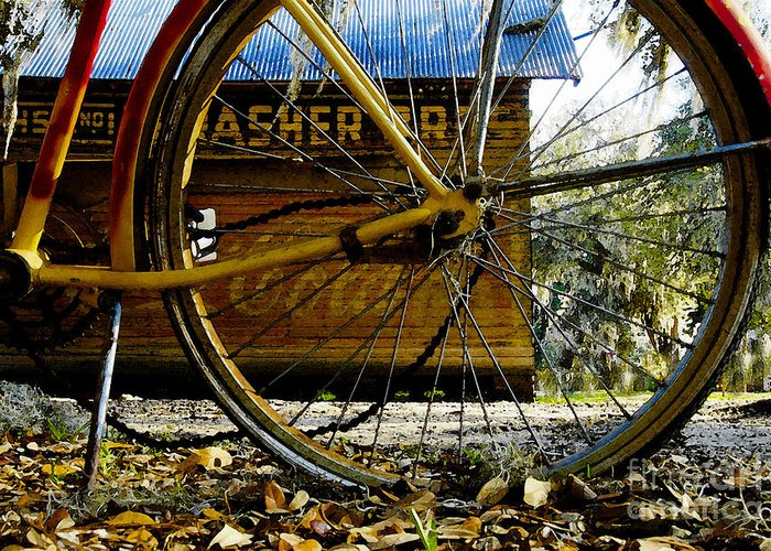 Micanopy Florida Greeting Card featuring the painting Broken Bicycle by David Lee Thompson