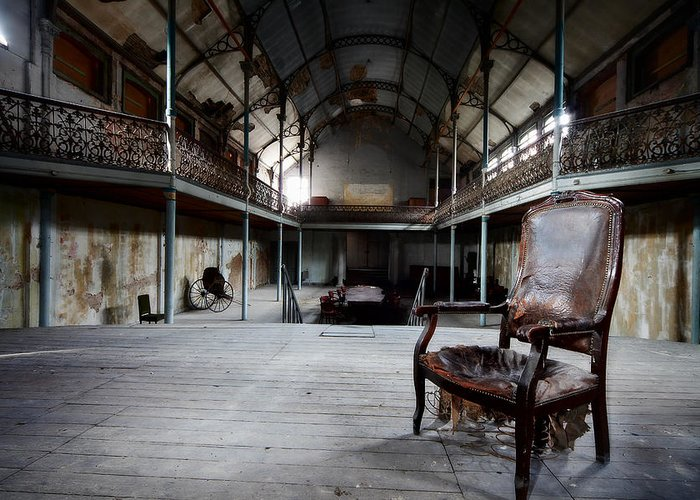 Broken Chair At Deserted Theatre - Abandoned Places Urban Explor Greeting  Card