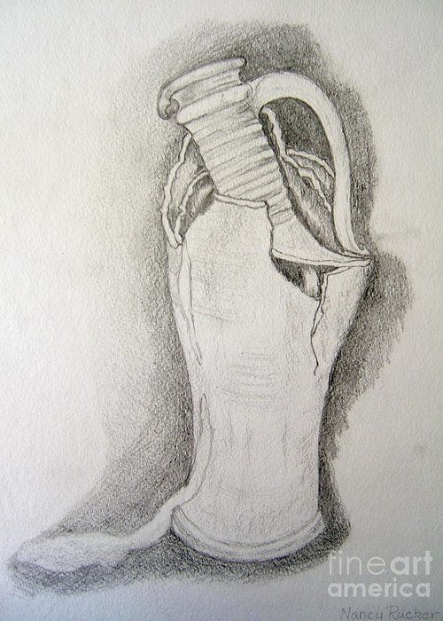 Pencil Drawing Of Spanish Pitcher Greeting Card featuring the drawing Broken Dreams by Nancy Rucker
