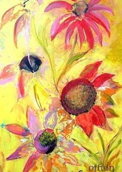 Floral Greeting Card featuring the painting Broken Flowers by Kathy Othon