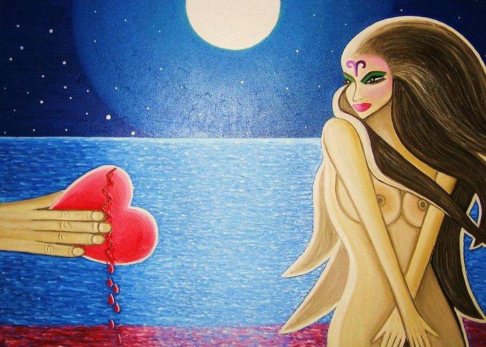 Broken Heart Bleeding Man Woman Ocean Full Moon Blood Hand Nude Aries Greeting Card featuring the painting Broken Heart by Janine Antulov