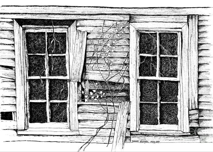 Old Barn Pen And Ink Digital Art Greeting Cards