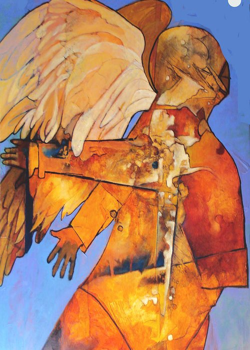Figure Greeting Card featuring the painting Broken Wings by Dale Witherow