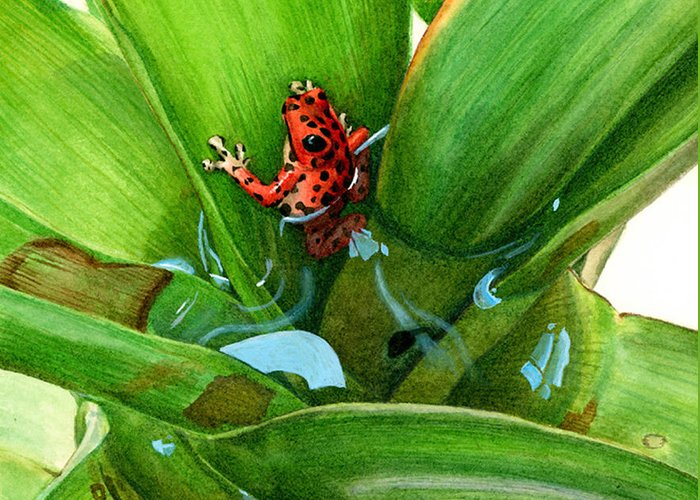 Habitat Greeting Card featuring the painting Bromeliad Microhabitat by Logan Parsons
