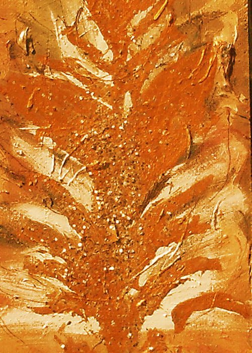 On Wood. Greeting Card featuring the painting Bronze Roots II by Anne-Elizabeth Whiteway