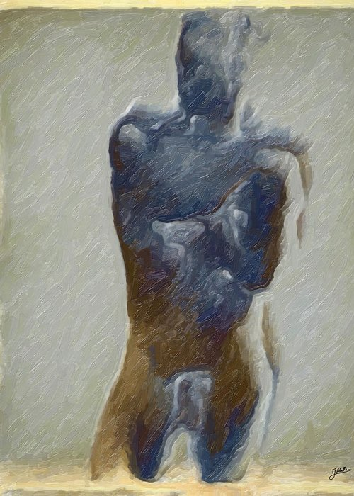 Abstract Greeting Card featuring the digital art Bronze Statue by Joaquin Abella