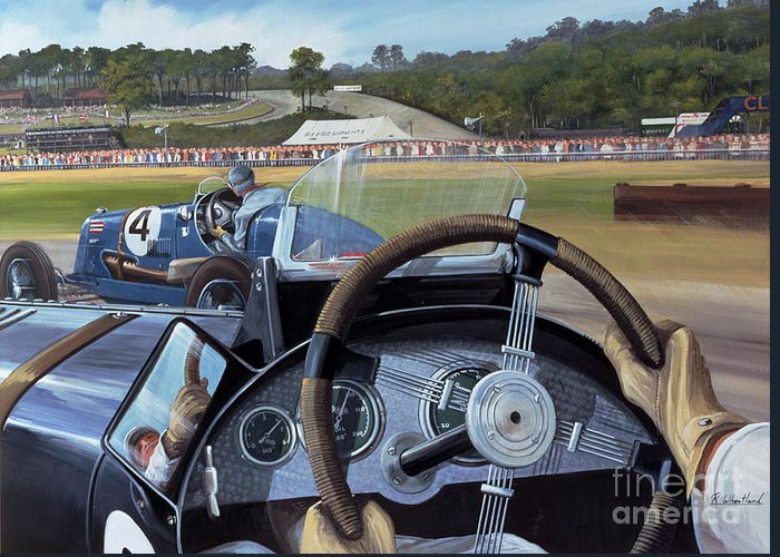 Brooklands - From The Hot Seat (w/c And Gouache On Paper) Racing; Car; Driver; Wheel; Track; Circuit; Race; Vintage; Thirties Greeting Card featuring the painting Brooklands From The Hot Seat by Richard Wheatland
