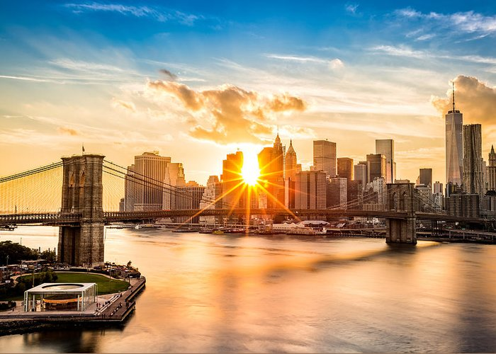America Greeting Card featuring the photograph Brooklyn Bridge and the Lower Manhattan skyline at sunset by Mihai Andritoiu