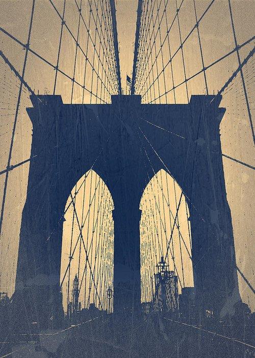 Brooklyn Bridge Greeting Card featuring the photograph Brooklyn Bridge Blue by Naxart Studio