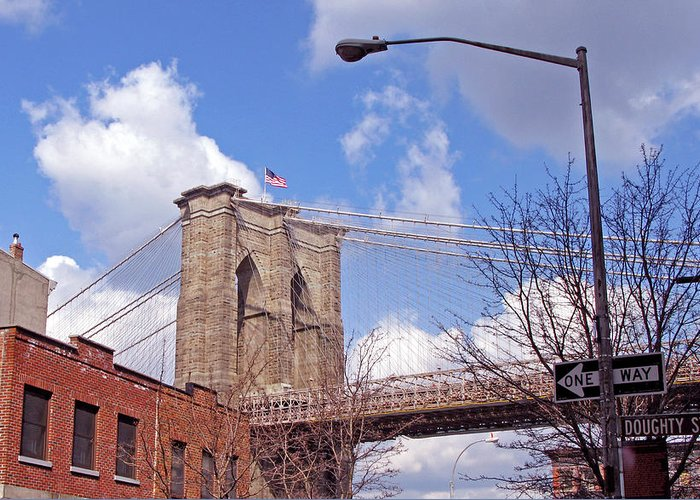 Brooklyn Bridge Greeting Card featuring the photograph Brooklyn Bridge From Doughty Street by Frank Winters