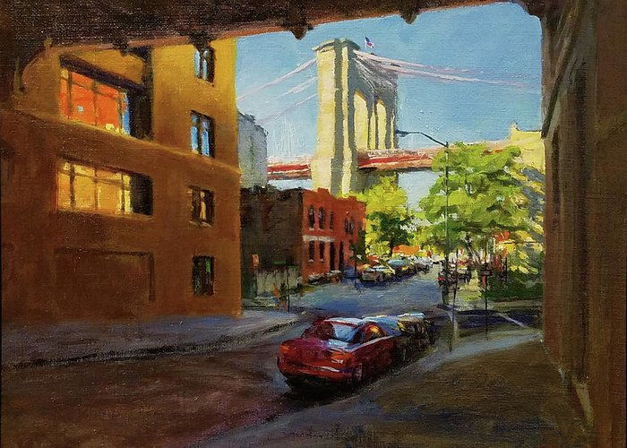 Landscape Greeting Card featuring the painting Brooklyn Bridge From Everit Street by Peter Salwen