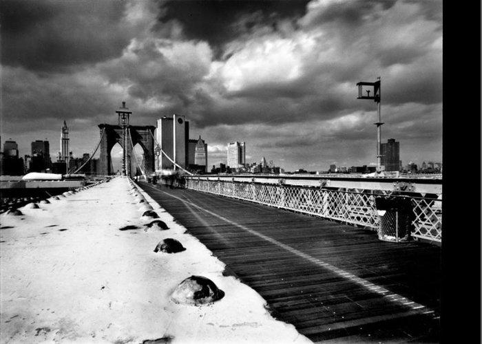 New York Greeting Card featuring the photograph Brooklyn Bridge by Luca Baldassari