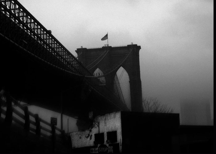 Brooklyn Bridge Greeting Card featuring the photograph Brooklyn Bridge Through The Windshield by Todd Fox