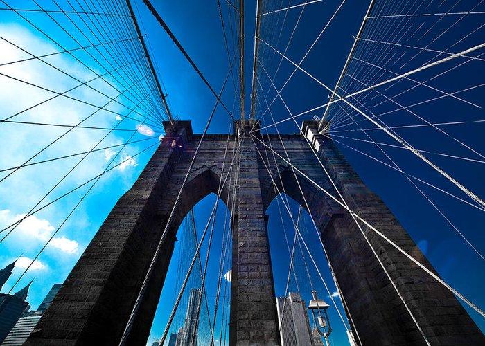 Brooklyn Greeting Card featuring the photograph Brooklyn Bridge Vertical by Thomas Splietker