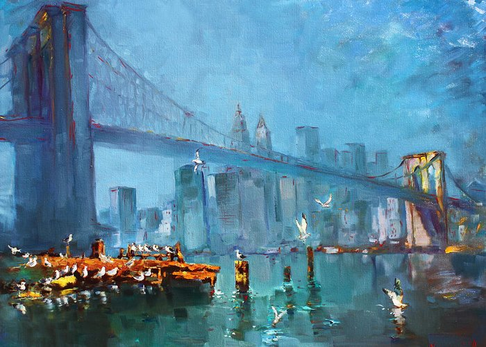 Landscape Greeting Card featuring the painting Brooklyn Bridge by Ylli Haruni