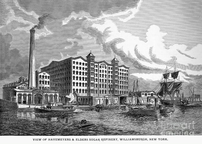 1876 Greeting Card featuring the photograph Brooklyn: Sugar Refinery by Granger