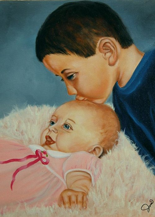 Children Greeting Card featuring the painting Brother And Sister by Joni McPherson