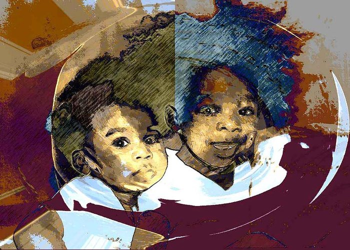 Portrait Greeting Card featuring the photograph Brothers 1 by LeeAnn Alexander
