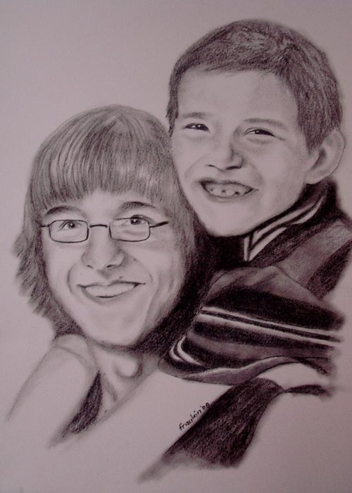 Portrait Greeting Card featuring the drawing Brothers For Life by Glory Fraulein Wolfe