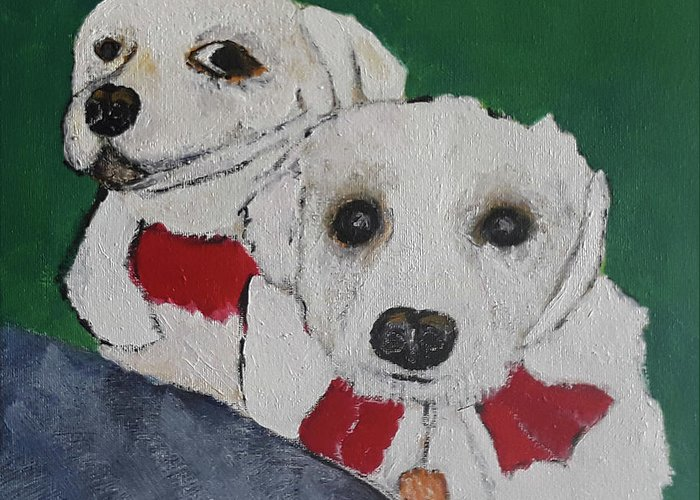 Pets Greeting Card featuring the painting Brothers by Gabby Tary