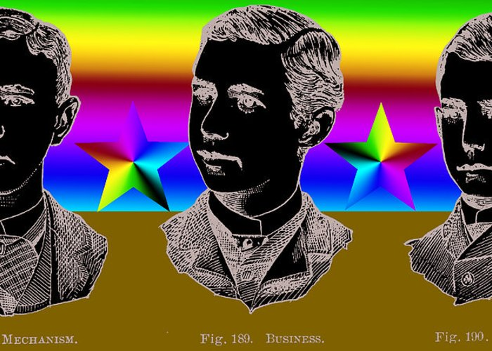 Three Greeting Card featuring the digital art Brothers Three by Eric Edelman