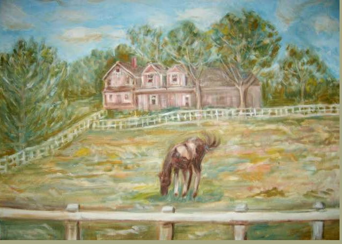 Horse Field House Fence Landscape Animal Trees Greeting Card featuring the painting Brown And White Horse by Joseph Sandora Jr