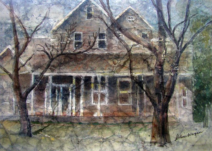 House Greeting Card featuring the mixed media Brown Batik House by Arline Wagner