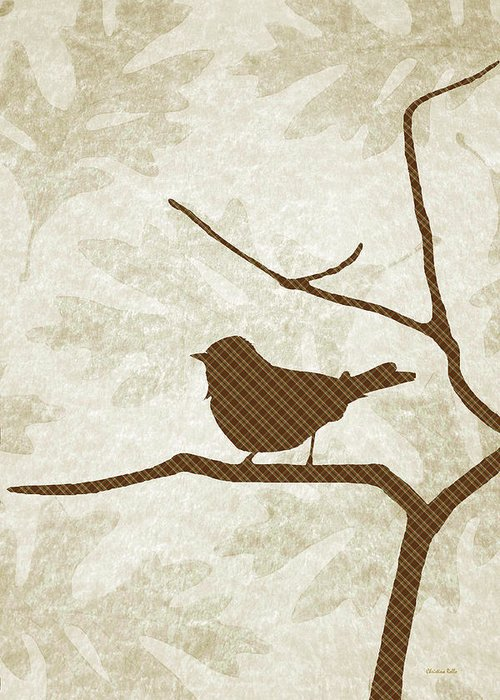 Bird Silhouette Greeting Card featuring the mixed media Brown Bird Silhouette Modern Bird Art by Christina Rollo