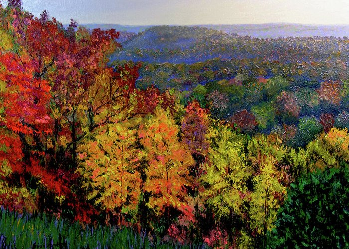 Landscape Greeting Card featuring the painting Brown County Autumn by Stan Hamilton