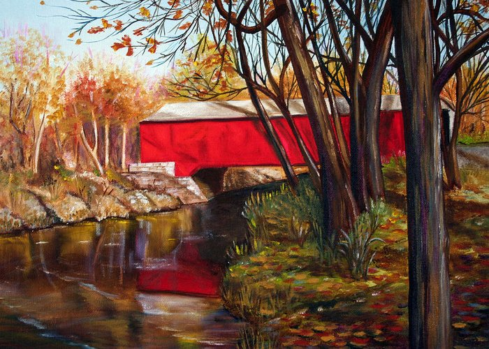Fall Greeting Card featuring the painting Brown County Bridge by Dorothy Riley