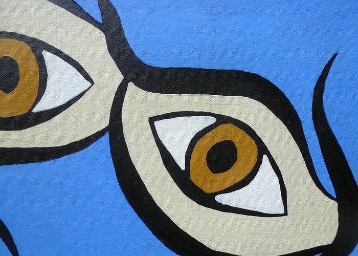 Brown Eyes Greeting Card featuring the painting Brown Eyes by Beth Akerman