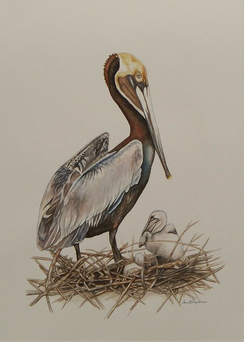 Borwn Pelican Greeting Card featuring the painting Brown Pelican And Chicks by Laurie Tietjen